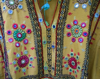 Vintage Afghani Mirrored Hand Embroidered Balochi Dress in Beautiful Mustard, Green and Pink Colors
