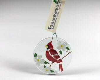 Cardinal Ornament, Fused Glass, Red Cardinal, Glass Bird, Christmas Ornament, Birds, Cardinal Fused Glass