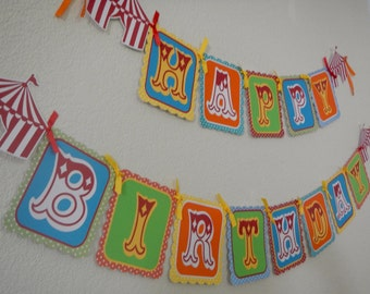 Happy Birthday Circus Theme, Carnival. Multicolor-High chair banner, Circus tent