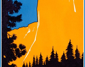 Vintage Yosemite Poster, National Park, El Capitan, Sierra Nevada Mountains, Sequoias, California