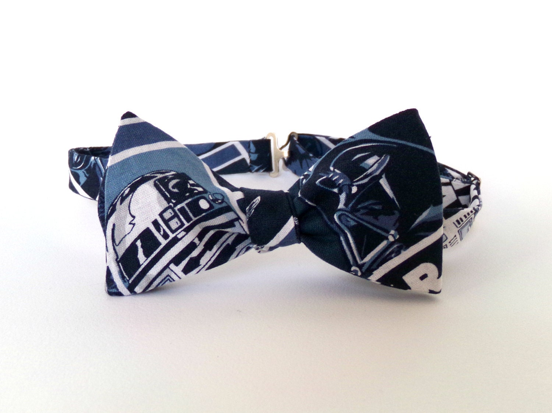 star wars bow tie self tie r2d2 darth vader blue gray black