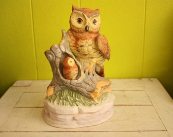 Vintage Ceramic Owl Mom and Baby Owl on Tree Stump