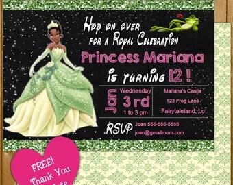 Tiana Invitation | Princess Tiana Party Invitation | Princess and the Frog Disney Birthday Invitation INSTANT DOWNLOAD Girl Invitation