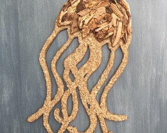 Driftwood Jellyfish Coastal Wall Decor