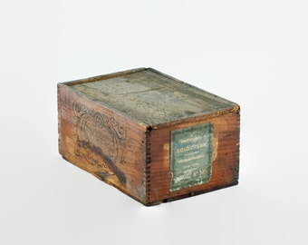 Antique Richard Hudnut Marvelous Cold Cream Wooden Box with Original Paper Label