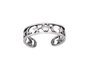 Sterling Silver .925 Heart, Star, Moon, Toe Ring adjustable size | Made In USA