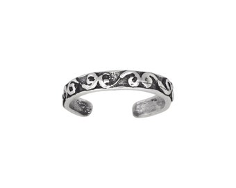 Sterling Silver .925 Spiral Design Toe Ring adjustable size   Made In USA