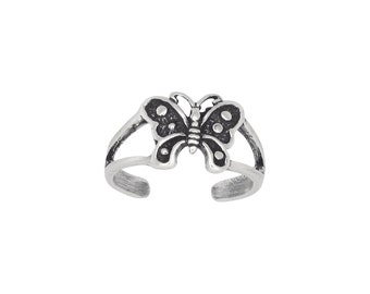 Sterling Silver .925 Butterfly Toe Ring adjustable size | Made In USA