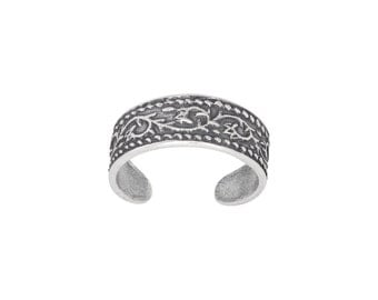 Sterling Silver .925 Bali Design Toe Ring adjustable size | Made In USA
