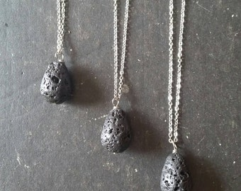 Oil Drop Lava Essential Oil Necklace Diffuser --- Lava Rock Aromatherapy Jewelry pendant