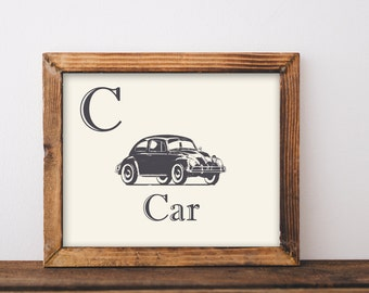 Vintage car printable art. Nursery decor.wall art. Car Art. Alphabet.Home decoration. Kid's room. Baby Gift.Nursery Gift. INSTANT DOWNLOAD.