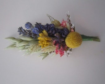 Beautiful Bespoke Wedding Buttonholes. All Natural Dried Flowers and Grasses.  Wheat, Billy Buttons, Larkspur