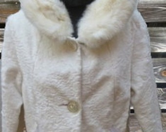 50s WINTER PRODUCT white faux fur jacket with fur collar.