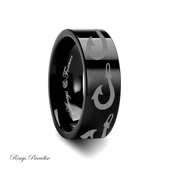 Fishing hook engraved tungsten ring wedding bands wedding for Mens fishing wedding bands