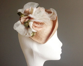 ANNE Vintage Straw Millinery Fascinator Mini Percher Hat with Handmade Silk Flowers