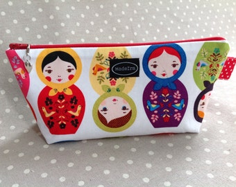 Red nesting doll fabric pencil case back to school russian doll matryoshka babushka pencil pouch children pencil case gift idea for kids