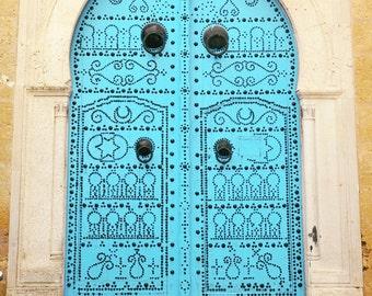 Door Photography, Blue Door, Tunisia, Tunis, Mediterranean Village, Moroccan, Travel Photography, Fine Art Print, turquoise, aqua, wall art