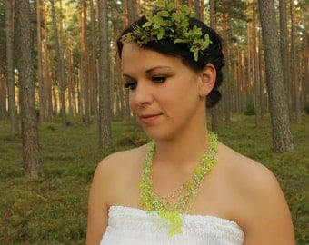 Leaf necklace Beadwork Autumn wedding Multistrand airy necklace Lime green Gift for her Beaded Green leaves Halloween Jewelry Ready to ship