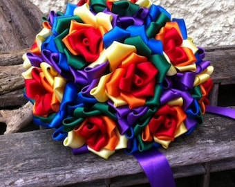 Handcrafted Rainbow Ribbon Bouquet