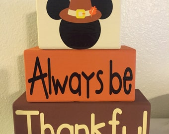 Disney Mickey Thanksgiving Always Be Thankful Blocks