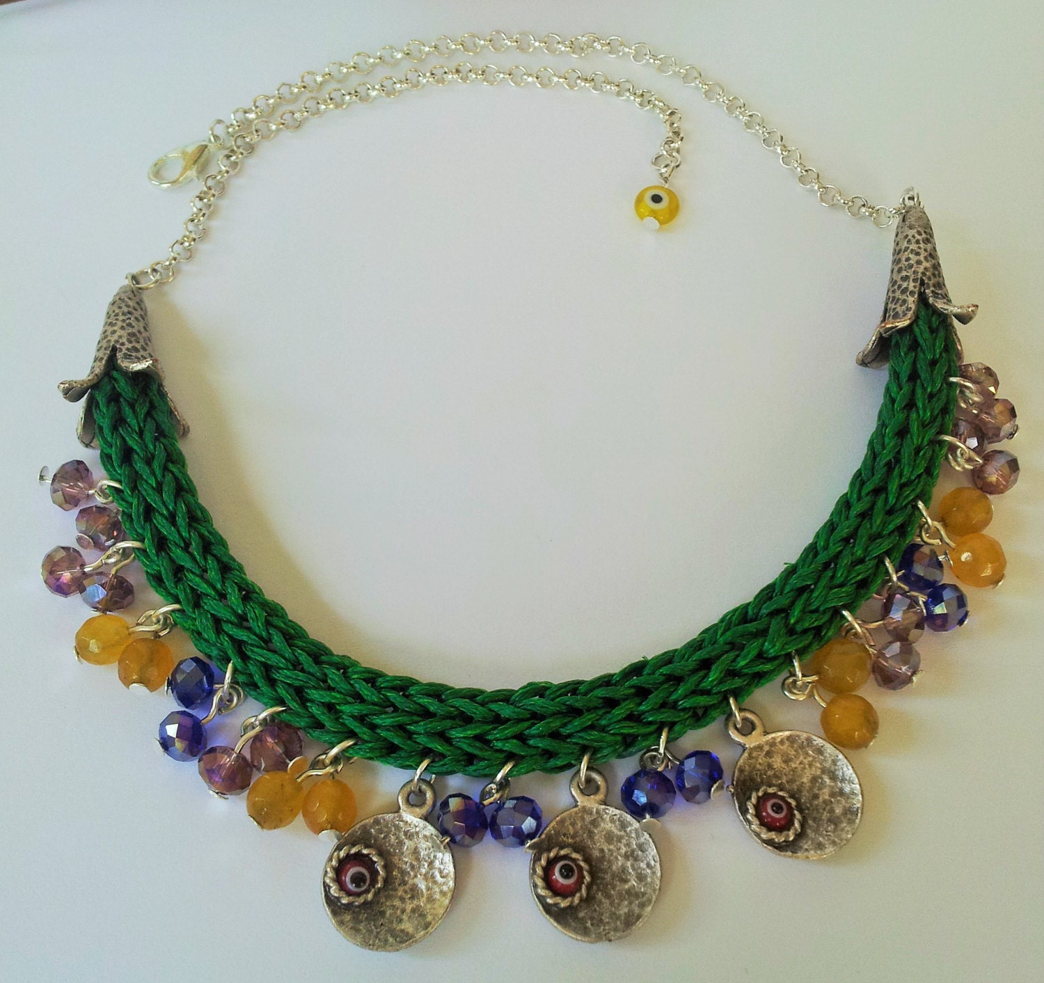 crochet necklaces with turkish style evil eye coin by