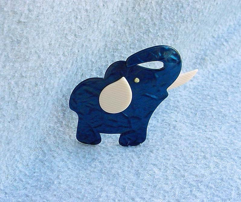 Lea Stein Tusker Brooch Big Elephant Pin Blue Marble Design