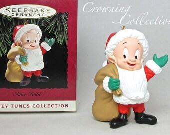 1993 Hallmark Elmer Fudd as Santa Claus Ornament Looney Tunes Keepsake Vintage Christmas Fud in Costume