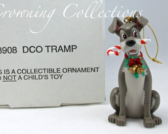 Grolier Tramp Ornament Lady and The Tramp Christmas Magic DCO Walt Disney Dog Candy Cane