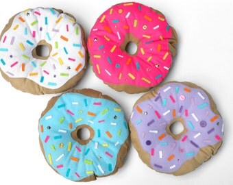 Pink Doughnut Pillow Plush - Handmade Kawaii food cushion - BLACK FRIDAY SALE