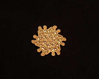 Satin Gold LSD Molecule Flower hat pin