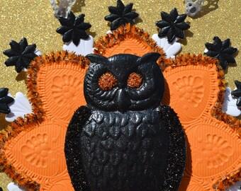 Black Owl Halloween Ornament-Gold Glitter
