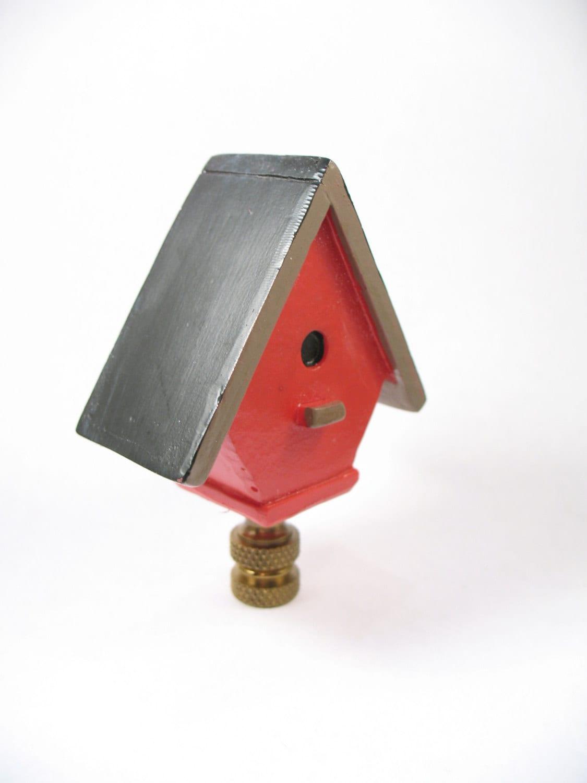 lamp finial bright red birdhouse cottage. Black Bedroom Furniture Sets. Home Design Ideas