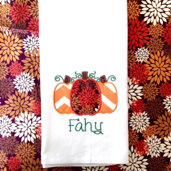 Fall Kitchen Towel, Pumpkin Kitchen Towel, Monogrammed Fall Kitchen Towel, Autumn Tea Towels, Pumpkin Tea Towels, Monogrammed Tea Towels