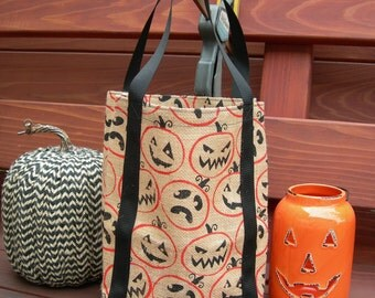 Halloween Trick-or-Treat Bag - Burlap w/ Jack-o'-lantern Print