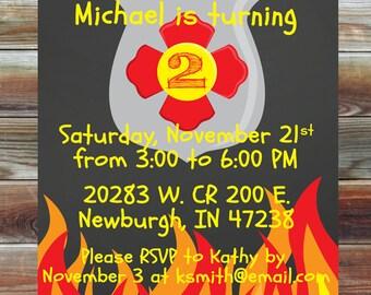 Fireman Firetruck Theme Second Birthday Invitation - 2nd Birthday Boy Chalkboard Custom Party Invitation - Fire Theme Birthday Party