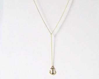 gold anchor y necklace,  y shaped necklace, gold y necklace, long y necklace, y style necklace , lariat necklace, drop necklace