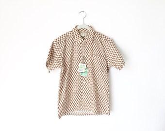 Vintage Boys Shirt / 1950s Boys Shirt / Paisley Shirt / Size 14 / Short Sleeve Shirt / Loop Collar Shirt / Deer Creek