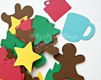 Christmas Die Cuts, Christmas Shapes, Holiday Shapes, Tree, Mug, Gingerbread Man, Gift, Star