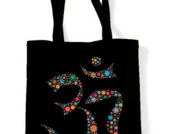 Om Symbol Floral Cotton Shoulder Bag