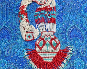 Vintage Native American, Hand Loomed, Seed Beaded, Woven Necklace