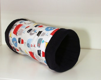 Hedgie Tube, Guinea Pig Tunnel, Reinforced Hedgehog Cage Accessories - Pirates with Navy Fleece