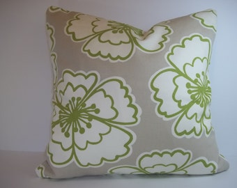 Pillow Cover, Throw Pillow, Decorative Throw Pillow, Toss Pillows, Accent Pillows, P Kaufman Snappy Poppy in Apple, flowers, 18 x 18 Inches