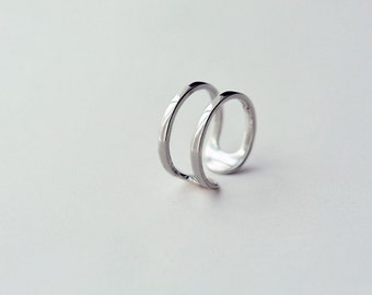 Unique Adjustable Ring-Simple 925 Sterling Silver Open Ring-Minimalist Metalwork Ring Jewelry