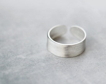 Simple Matte Adjustable Sterling Silver Ring-Unique Open Ring-Minimalist Handmade Metalwork Ring Jewelry