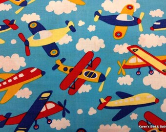 AIRPLANE Fabric By Yard, Half, Fat Quarter Aviation Aeroplanes Jet Planes Aircraft Blue Sky Fabric Clouds 100% Cotton Quilting Apparel t5/19