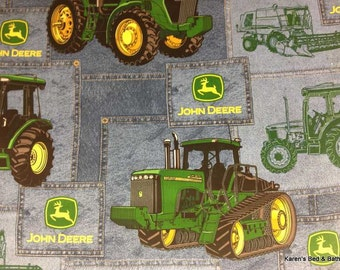 JOHN DEERE Fabric By the Yard Half Yard Tractors Big Tractor Blue Jean John Deer TRACTOR Look Cotton Quilting Apparel Fabric t4-18