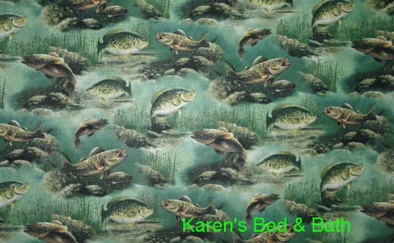 Fishing fabric by the yard fat quarter bass perch lake for Fish fabric by the yard