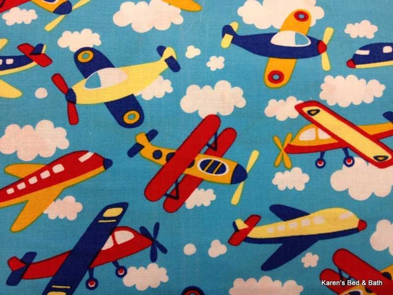 Airplane fabric by yard half fat quarter aviation aeroplanes for Airplane fabric by the yard