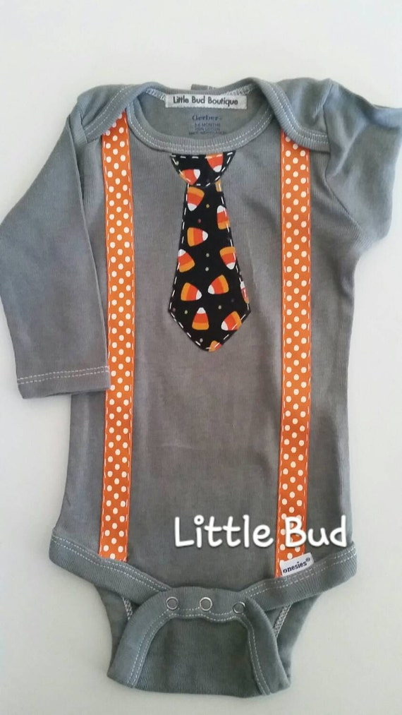 Baby Boy Onesie with NeckTie Slate Gray Long by LilBudBoutique