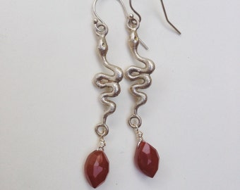 Carnelian and Silver Snakes